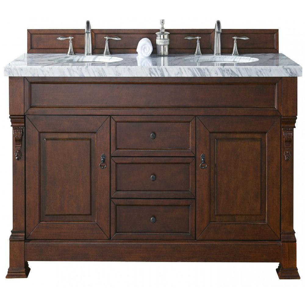 James Martin Signature Vanities Brookfield 60 in. W Double Vanity in Warm Cherry with Marble Vanity Top in Carrara White with White Basin