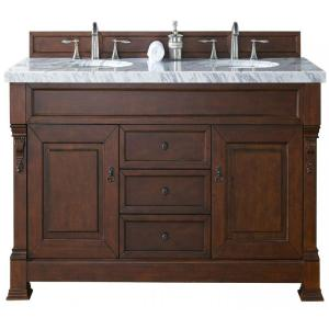 James Martin Signature Vanities Brookfield 60 inch W Double Vanity in Warm Cherry with Marble Vanity Top in Carrara... by James Martin Signature Vanities
