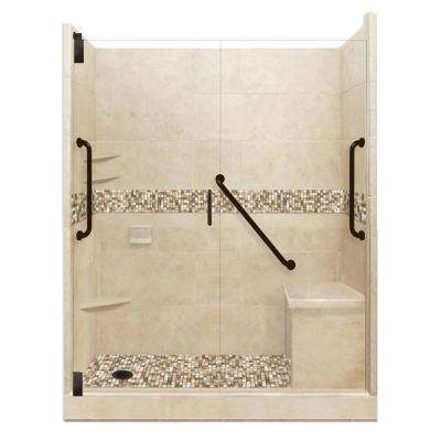 Roma Freedom Grand Hinged 32 in. x 60 in. x 80 in. Left Drain Alcove Shower Kit in Brown Sugar and Old Bronze Hardware