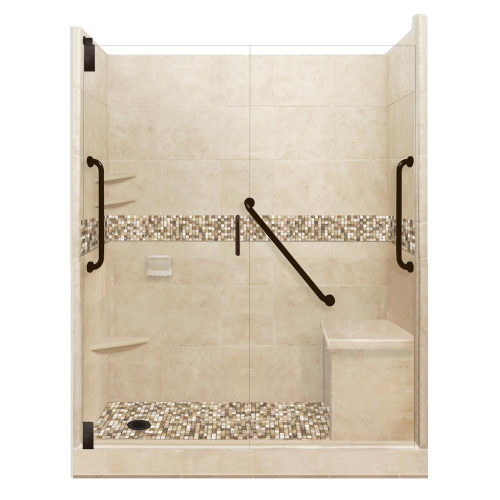 American Bath Factory Roma Freedom Grand Hinged 42 in. x 60 in. x 80 in. Left Drain Alcove Shower Kit in Brown Sugar and Old Bronze Hardware