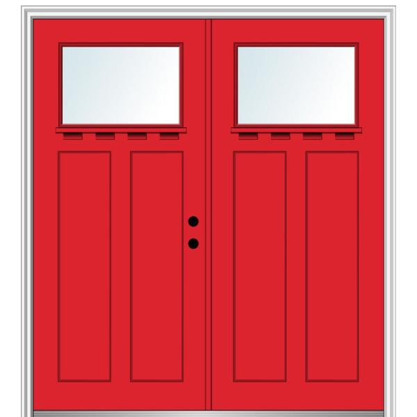 Mmi Door 72 In X 80 In Shaker Left Hand Inswing 1 Lite Clear Low E Painted Fiberglass Smooth Prehung Front Door With Shelf Z028648l The Home Depot