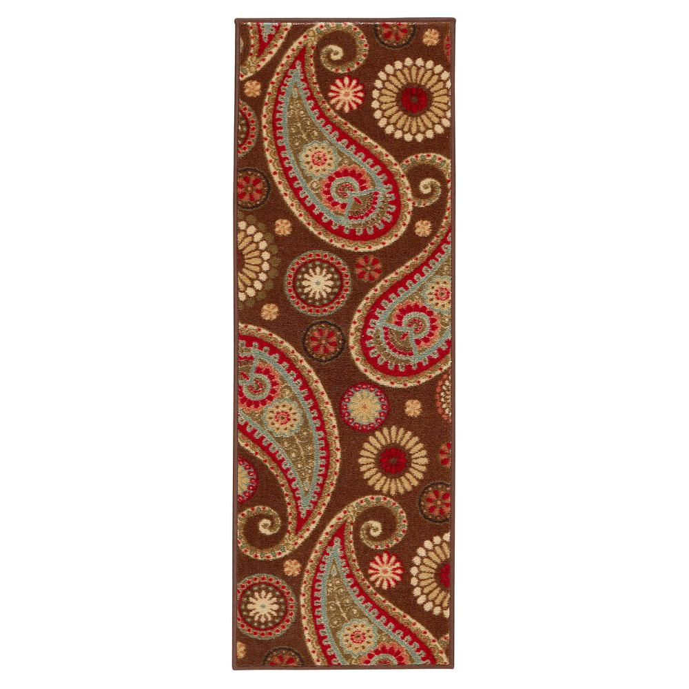 Anne Collection Paisley Design Brown 2 Ft X 5 Non Skid Runner
