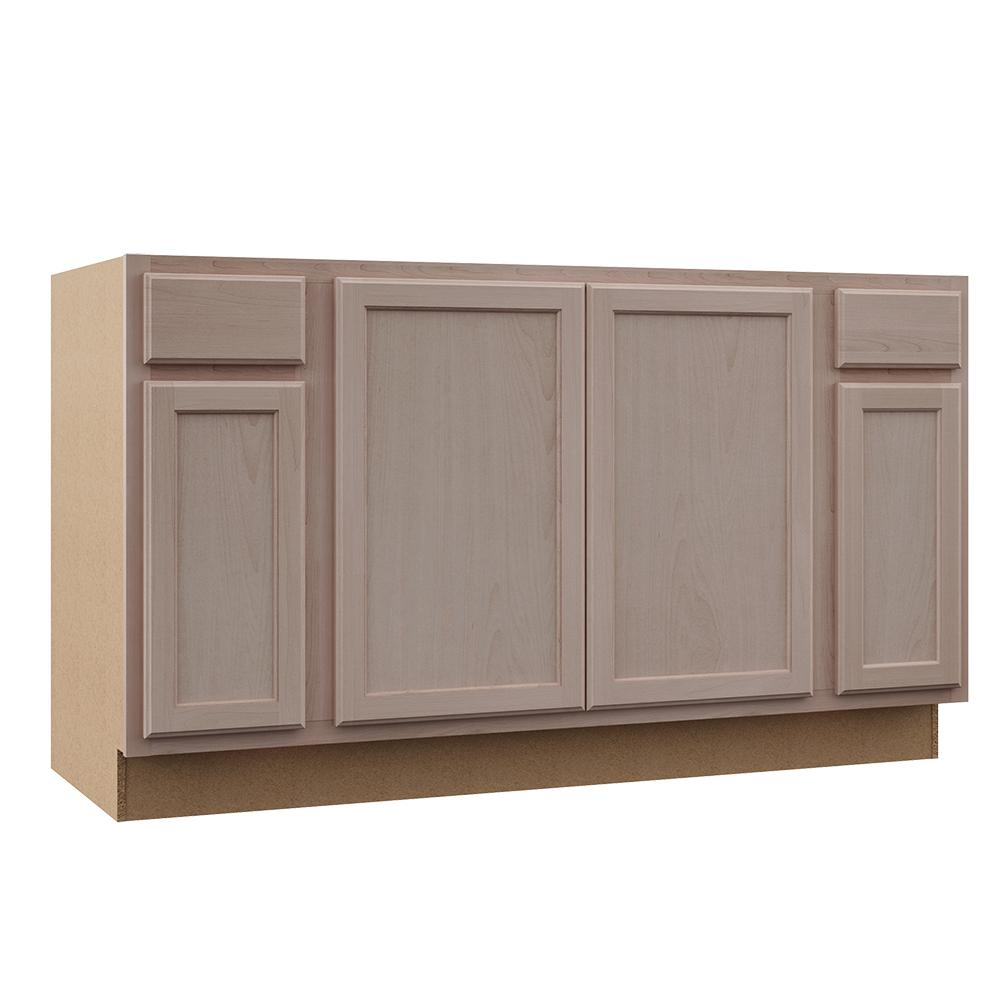 brand new ecc4d 68e43 Hampton Bay Hampton Assembled 60x34.5x24 in. Sink Base Kitchen Cabinet in  Unfinished Beech