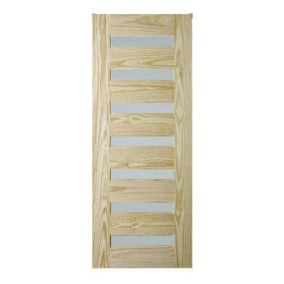 37 in. x 84 in. Milan Style 7-Lite Pine Barn Door for Rail Systems Collection
