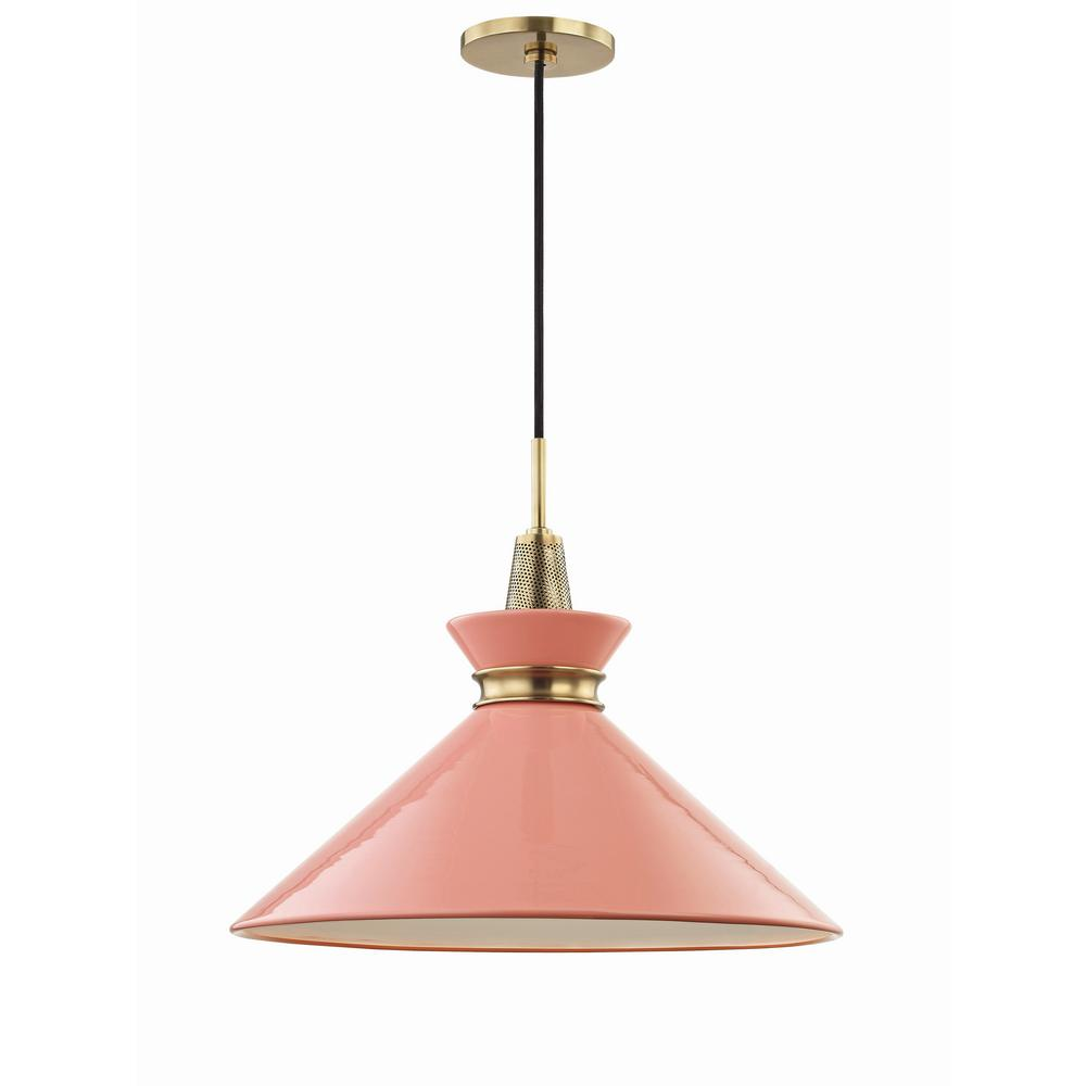 Mitzi By Hudson Valley Lighting Kiki 1 Light 18 In W Aged Br Pendant