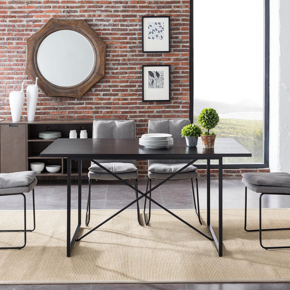 Franca 1-Piece Black Farmhouse Dining Table
