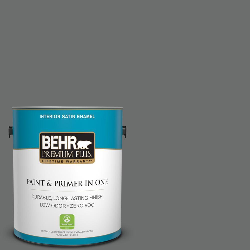 1 gal. #HDC-AC-17A Welded Iron Zero VOC Satin Enamel Interior Paint
