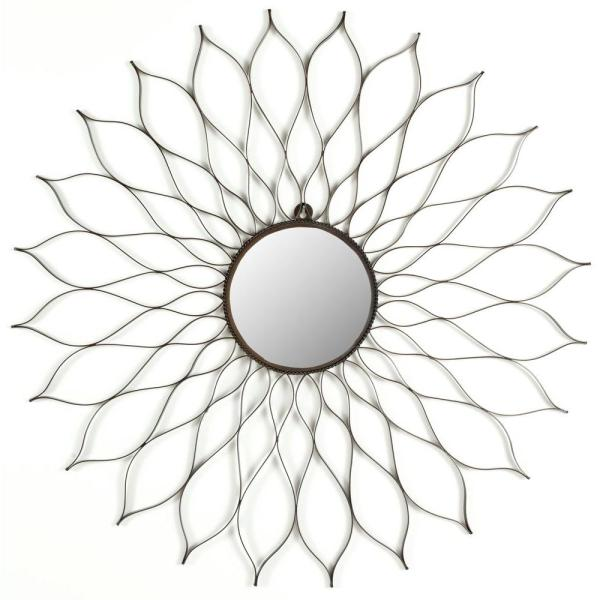 Flower 35 in. x 35 in. Iron and Glass Framed Mirror
