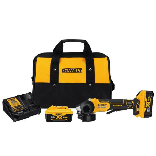 20-Volt MAX XR Cordless Brushless 4-1/2 in. Paddle Switch Small Angle Grinder with (2) 20-Volt 6.0Ah Batteries