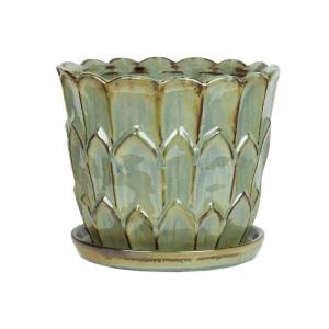 10 in. Artichoke Green Ceramic Planter with Saucer