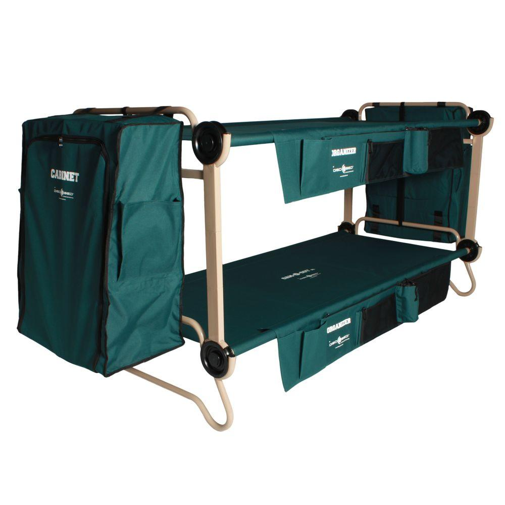 40 in. Green Bunkbable Beds with Leg Extensions Bed Side Organizers