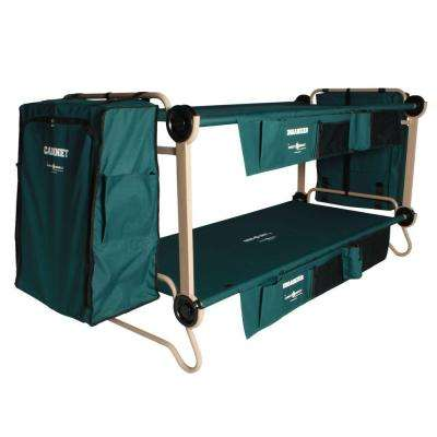 40 in. Green Bunkbable Beds with Leg Extensions Bed Side Organizers and Hanging Cabinets (2-Pack)