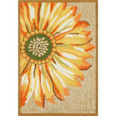 Woodside Asterales Yellow 2 ft. x 3 ft. Rectangle Indoor/Outdoor Area Rug