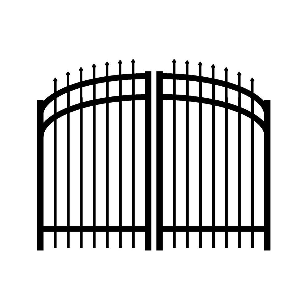 Jerith Washington 6 ft. W x 5.5 ft. H Double Drive Aluminum Black Arched Gate-DISCONTINUED