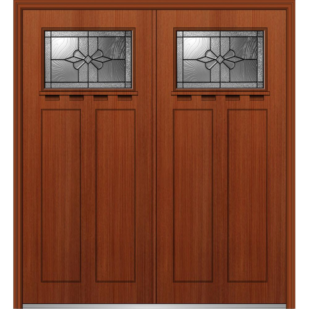 72 in. x 80 in. Dahlia Right-Hand Inswing 1/4-Lite Decorative Stained