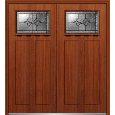 64 in. x 80 in. Dahlia Left-Hand Inswing 1/4-Lite Decorative Stained Fiberglass Fir Prehung Front Door with Shelf