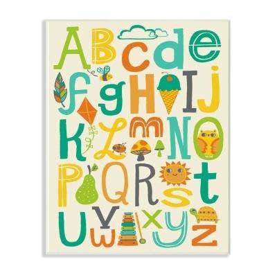 "10 in. x 15 in. ""Teal Orange and Green Alphabet Animals And Fun Food"" by Allison Cole Wood Wall Art"