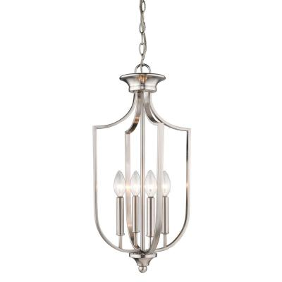 12 in. Wide 4-Light Brushed Nickel Taper Candle Pendant