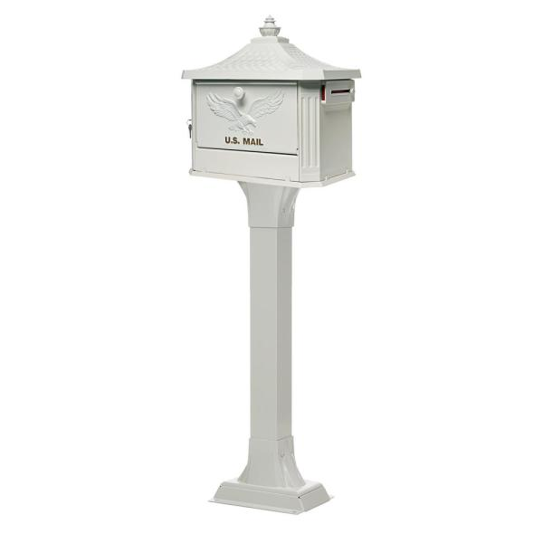 Hemingway All-in-One, Locking, Large, Aluminum, Mailbox and Post Combo, White