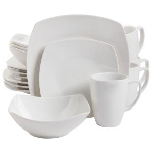 Zen 16-Piece Contemporary White Ceramic Dinnerware Set (Service for 4)