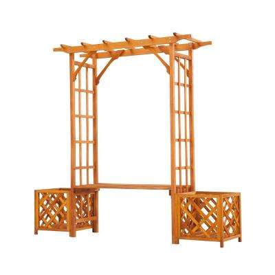 82.28 in. x 88.58 in. Wooden Trellis Arch Arbor with Seat