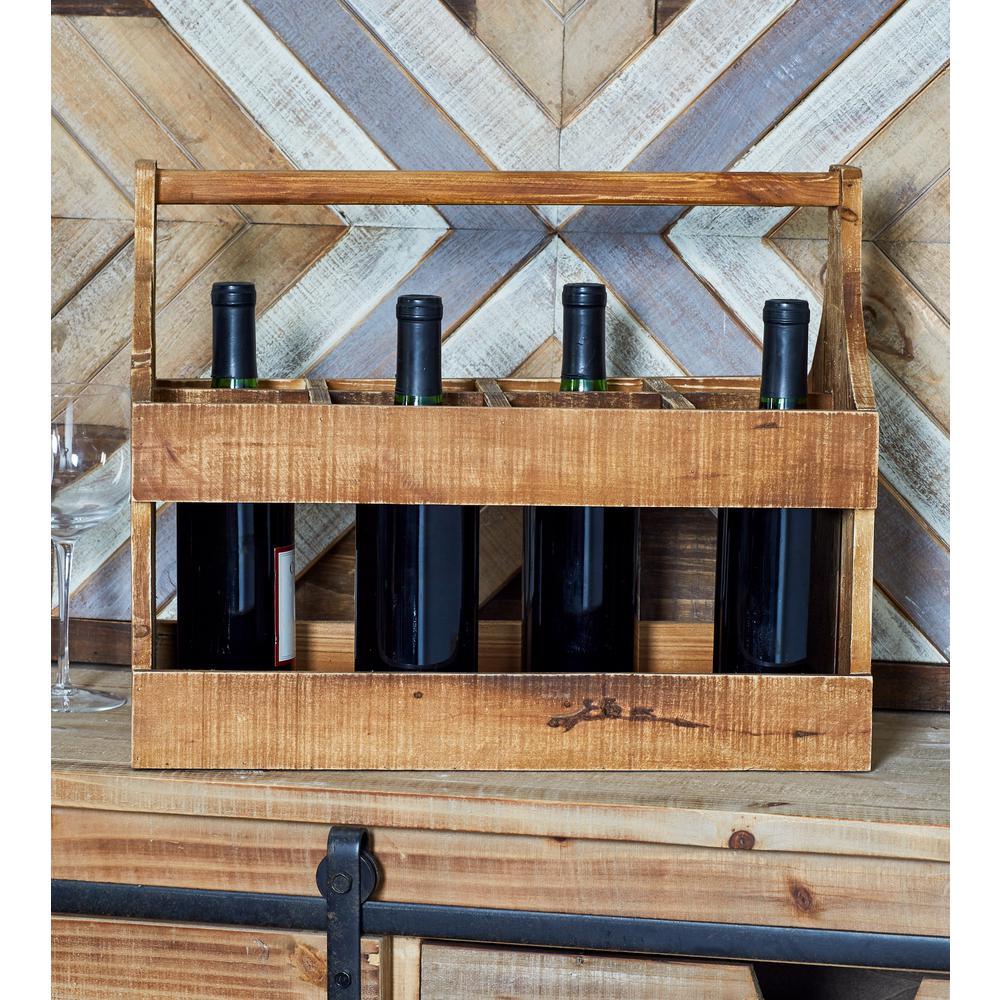 8-Bottle Brown Rectangular Wooden Wine Caddy