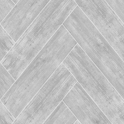 Strata Herringbone Wood Dark Grey Removable Wallpaper