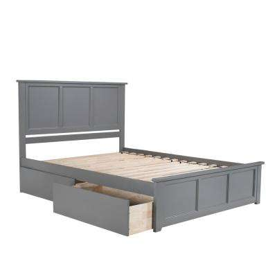Madison Queen Platform Bed with Matching Foot Board with 2 Urban Bed Drawers in Grey