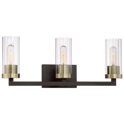 Ainsley Court 3-Light Aged Kinston Bronze with Brushed Brass highlights Bath Light