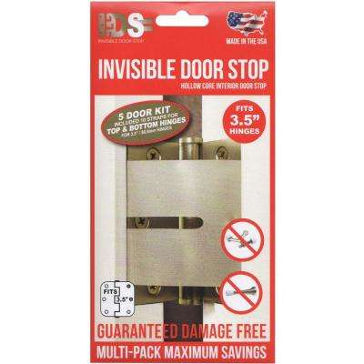 3-1/2 in. Clear Polymer Matte Hinge Stop Hollow Core Interior Door Stop 5 Door Multi-Pack (10 Straps)