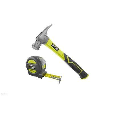 16 oz. All Purpose Hammer with 11 in. Fiberglass Handle and 25 ft. Tape Measure, Overmold and Wireform Belt Clip