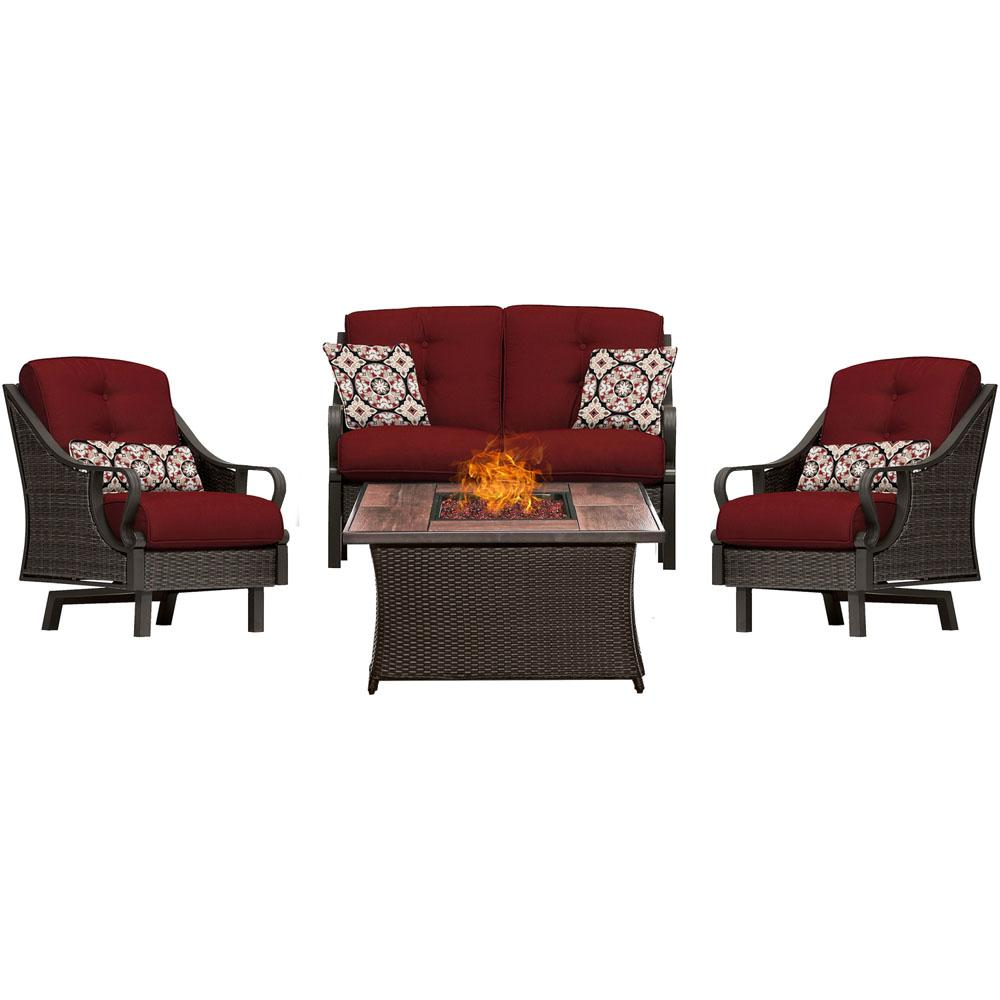 Ventura 4-Piece All-Weather Wicker Patio Conversation Set with Wood Grain-Top