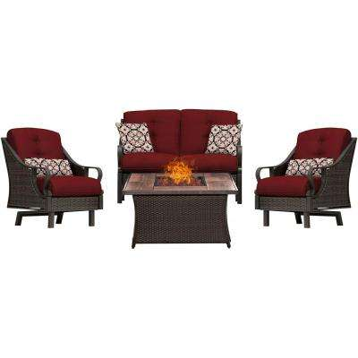 Ventura 4-Piece All-Weather Wicker Patio Conversation Set with Wood Grain-Top Fire Pit with Crimson Red Cushions