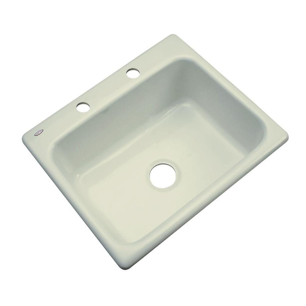 Thermocast Inverness Drop-In Acrylic 25 in. 2-Hole Single Bowl Kitchen Sink in Jersey Cream