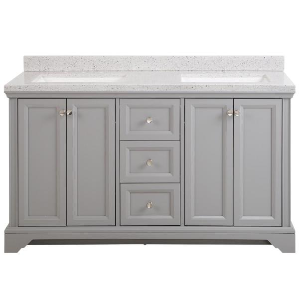 Home Decorators Collection Stratfield 61 In W X 22 In D Bath Vanity In Sterling Gray With Solid Surface Vanity Top In Silver Ash With White Sink Sf60p2v12 St The Home Depot
