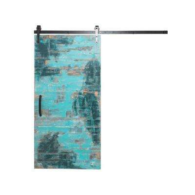36 in x 84 in reclaimed aqua wood barn door with arrow sliding door