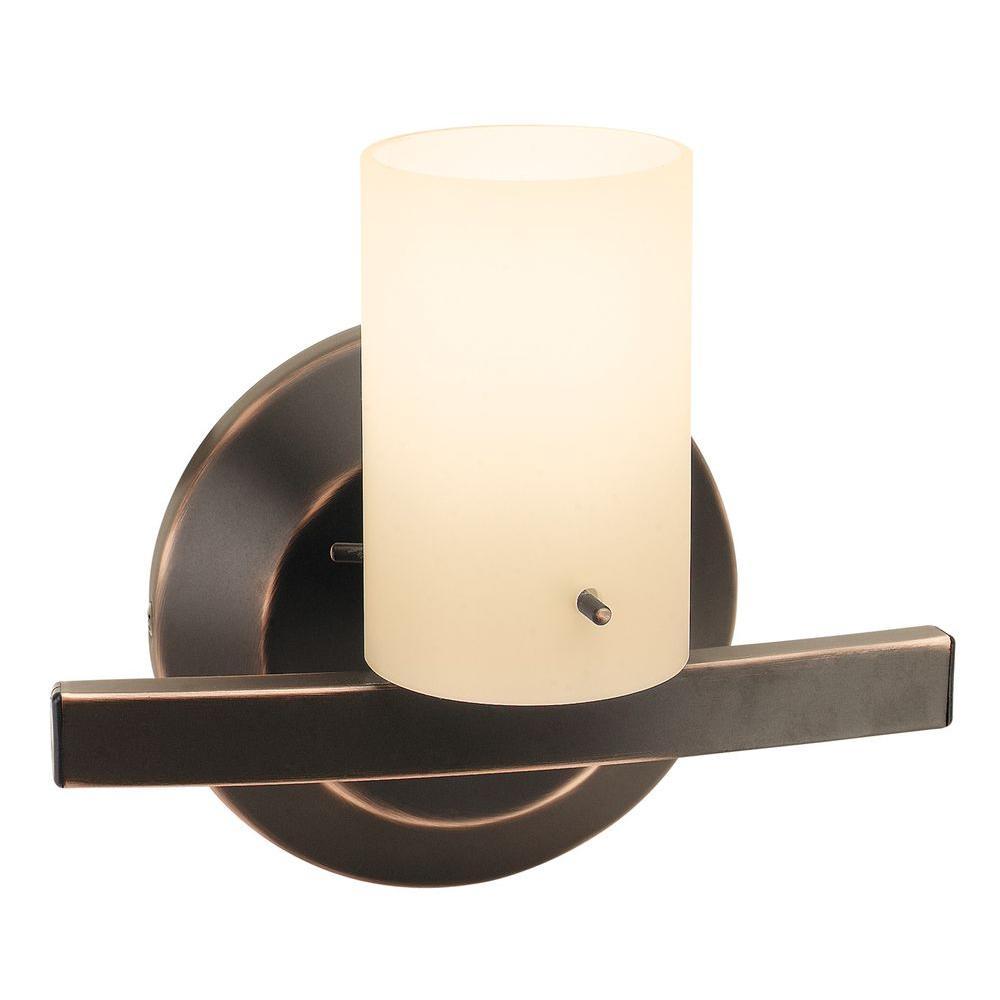 Illumine 1-Light Vanity Matte Chrome Finish Amber Glass-DISCONTINUED