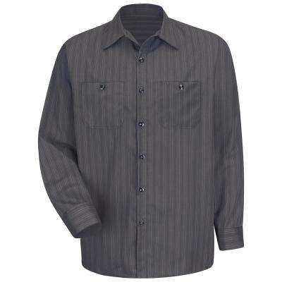 Men's Size 2XL Charcoal with Blue/White Stripe Industrial Stripe Work Shirt