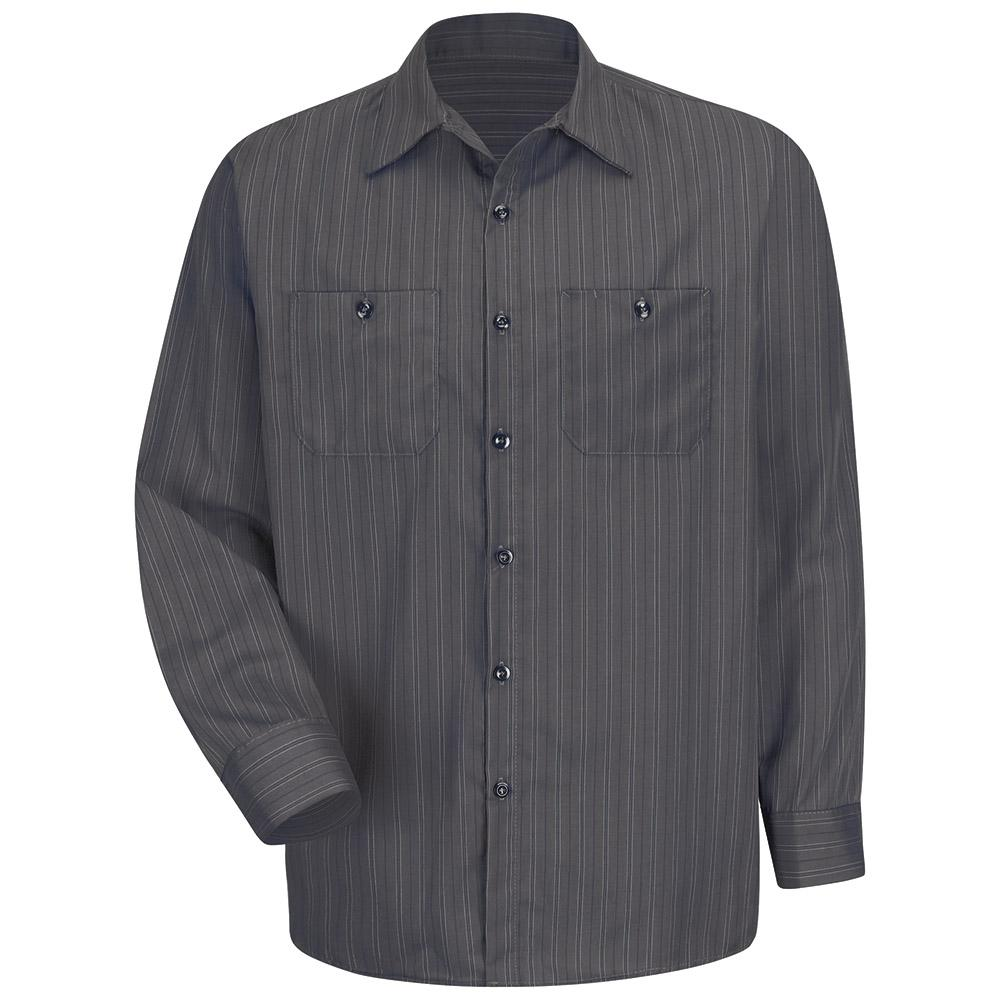 266c3cf80a27 Men's Size 2XL Charcoal with Blue/White Stripe Industrial Stripe Work Shirt.  Write a review