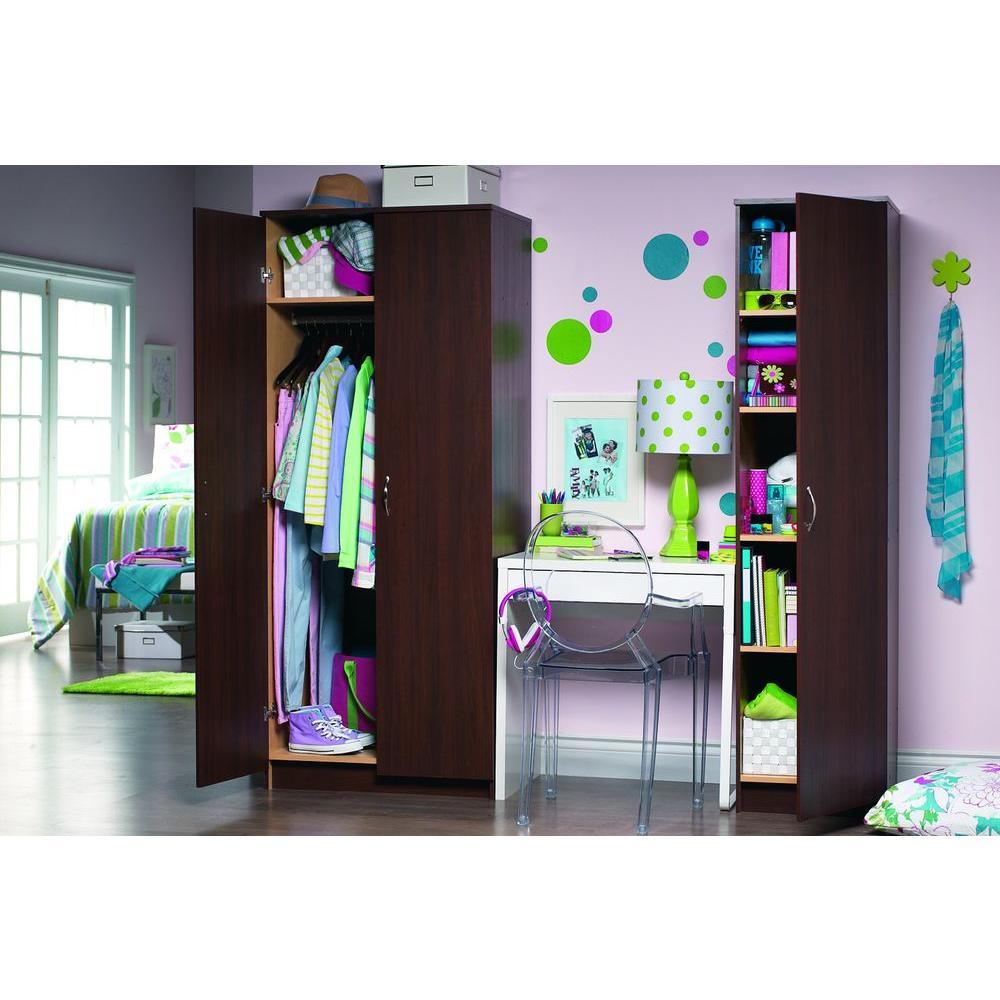 akadaHOME 5-Shelf Laminate Single Door Storage Cabinet in Torino Walnut