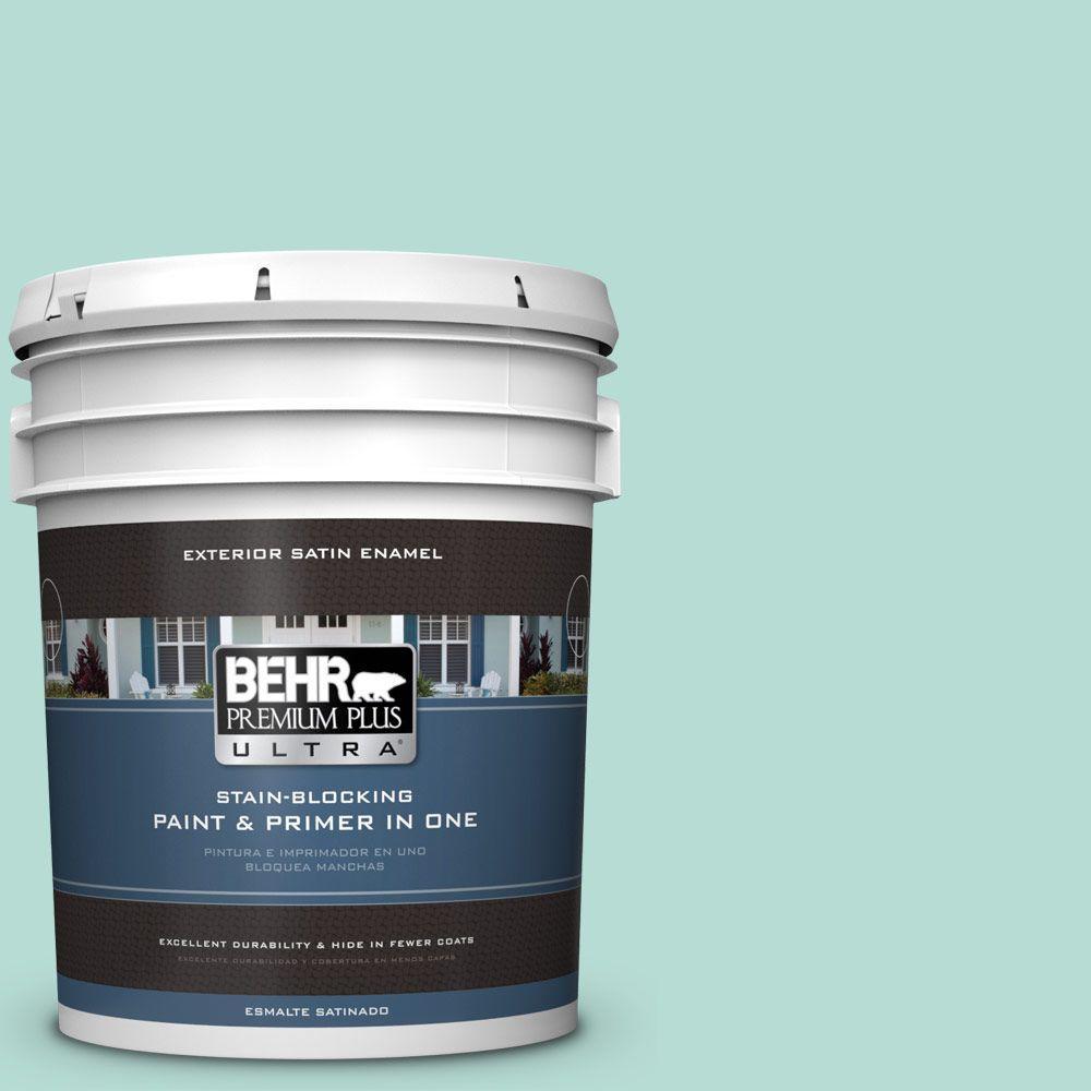 BEHR Premium Plus Ultra 5-gal. #490C-3 Balmy Seas Satin Enamel Exterior Paint