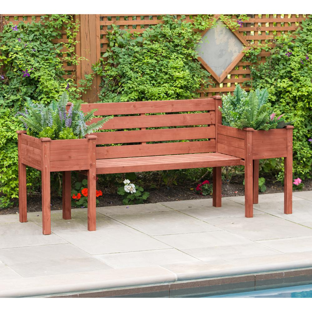 Admirable Leisure Season Wooden Medium Brown Patio Planter Bench Uwap Interior Chair Design Uwaporg