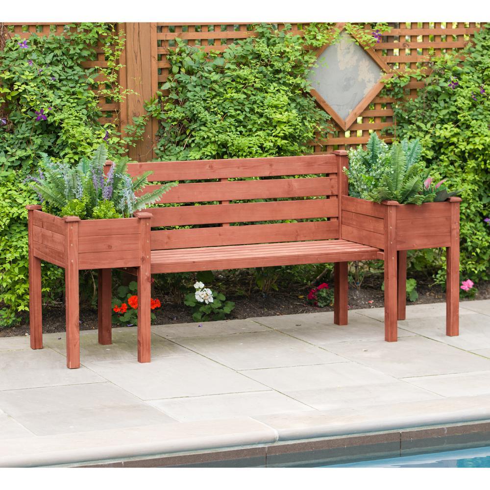 Leisure Season Wooden Medium Brown Patio Planter Bench