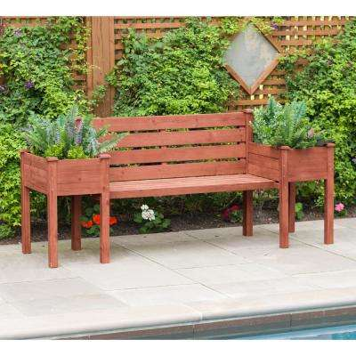Wooden Medium Brown Patio Planter Bench