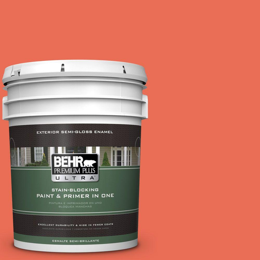 BEHR Premium Plus Ultra 5-gal. #190B-6 Wet Coral Semi-Gloss Enamel Exterior Paint