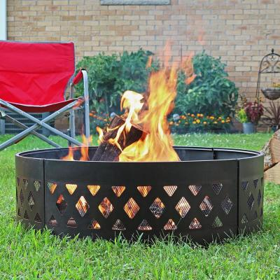 36 in. Dia Round Steel Crossweave Wood Burning Campfire Ring