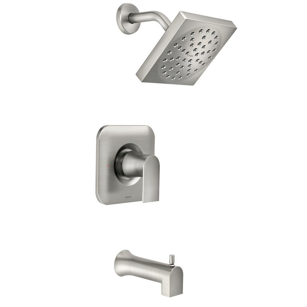 Moen Brushed Nickel Shower Faucet.Moen Genta Single Handle 1 Spray Tub And Shower Faucet In Spot Resist Brushed Nickel Valve Included