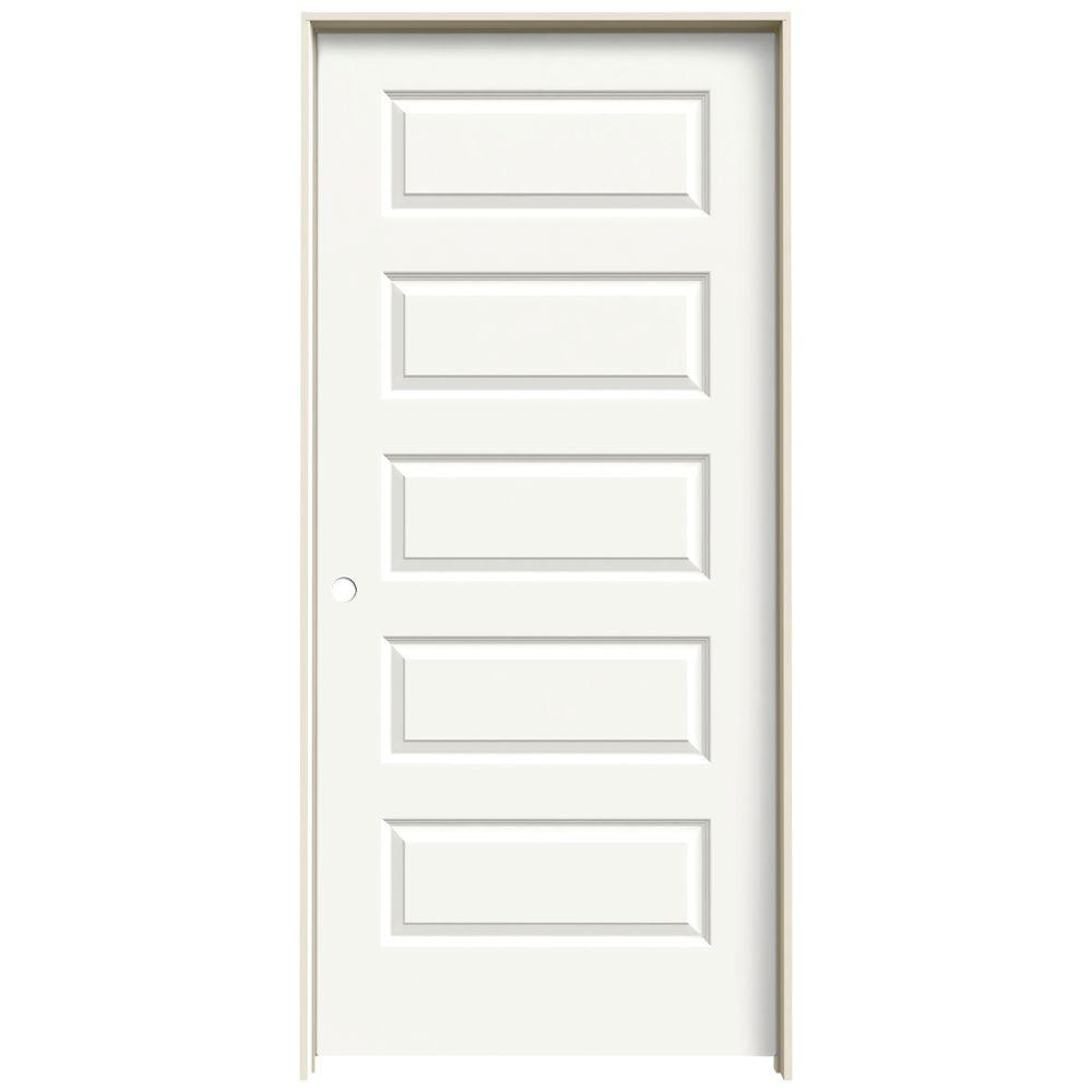 Jeld Wen 36 In X 80 In Rockport White Painted Right Hand Smooth Molded Composite Mdf Single