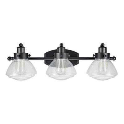 3-Light Black Vanity Light with Clear Seedy Glass Shade