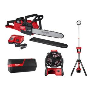 M18 FUEL 16 in. 18-Volt Lithium-Ion Brushless Cordless Chainsaw, Bluetooth Speaker, Fan and Rocket Tower Light (4-Tool)